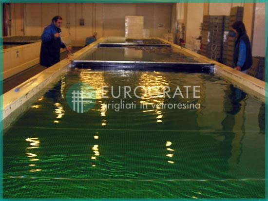 Gitterrostlaufstege im Wasser eines Beckens für die Fischereiwirtschaft
