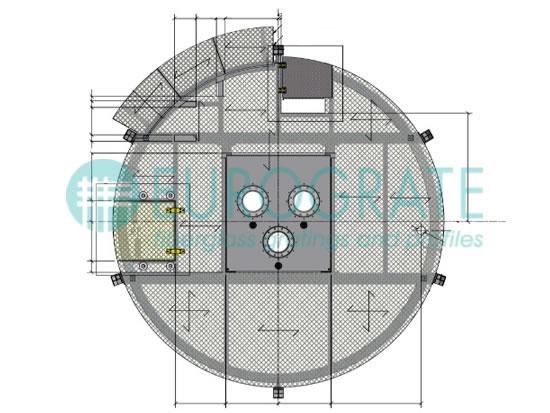 Technische Zeichnung eines maßgeschneiderten Gitterrostes für eine Ölbohrplattform